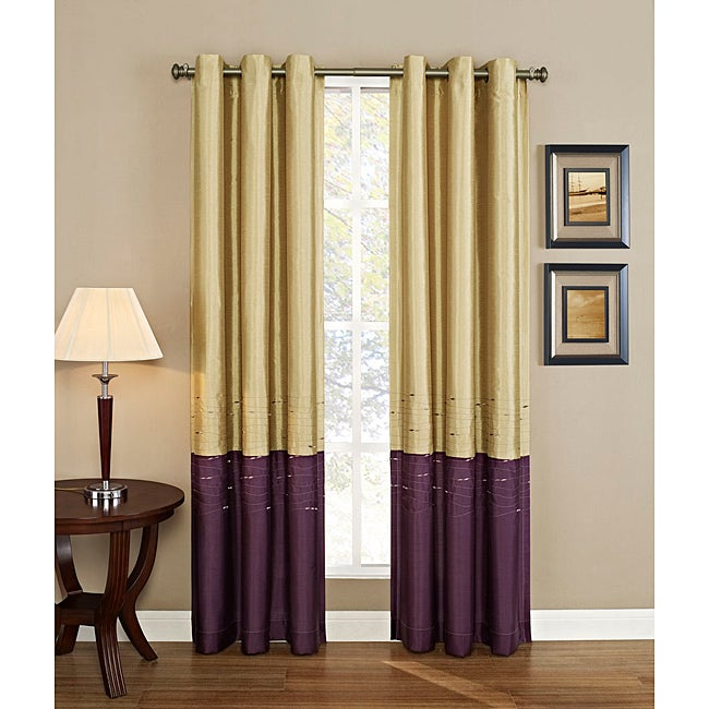 Horizon Embroidered Grommet Curtain Panel