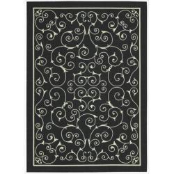 Nourison Home and Garden Black Floral Indoor/Outdoor Rug (5'3 x 7'5)