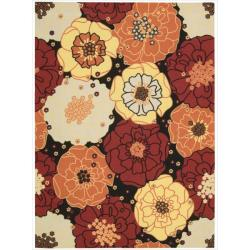 Nourison Home and Garden Black Floral Indoor/ Outdoor Area Rug (5'3 x 7'5)