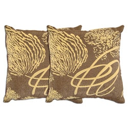 Brown Abstract Decorative Pillows (Set of 2)