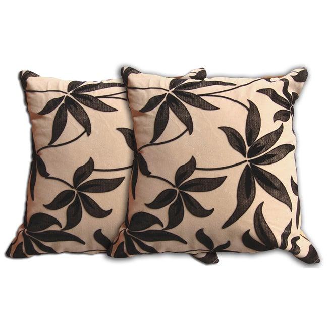 Beige Floral Decorative Pillow (Set of 2)