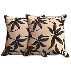 Beige Floral Decorative Pillow (Set of 2)