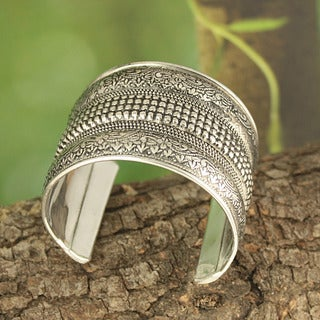 Handcrafted Wide Antiqued Metal Cuff Bracelet (India)