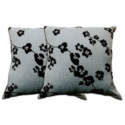 Blue-Grey Floral Decorative Pillow (Set of 2)