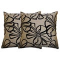 Tan Floral Decorative Pillow (Set of 2)
