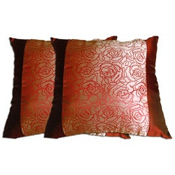 Decorative Wine/Gold Polyester Pillow (Set of 2)
