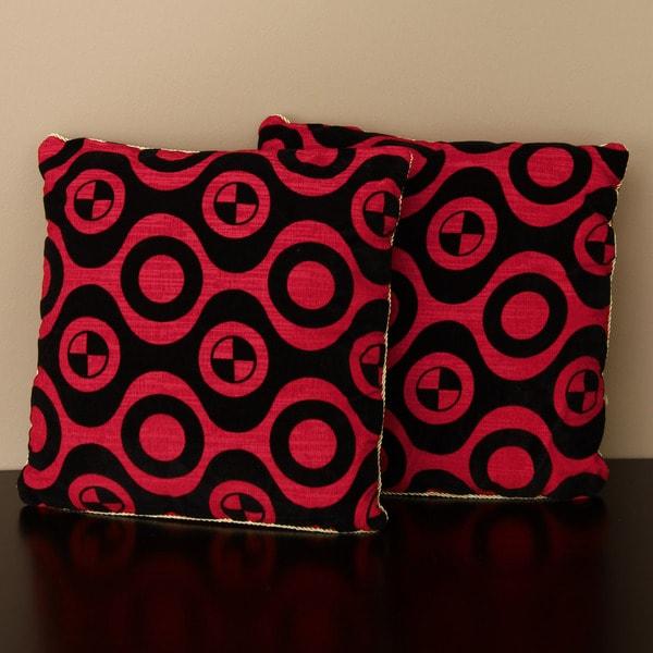 Red/ Black Geometric Print Pillow (Set of 2)