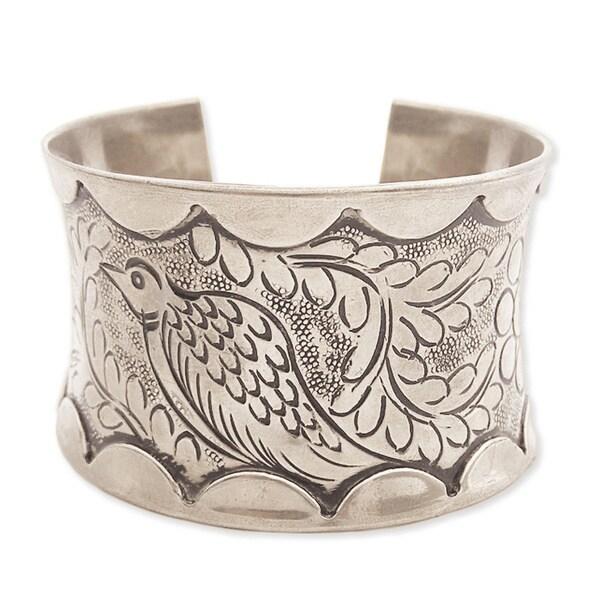 Handcrafted Silvertone Metal Embossed Bird Cuff Bracelet (India)