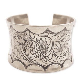 Handcrafted Silvertone Metal Embossed Bird Cuff Bracelet (India)