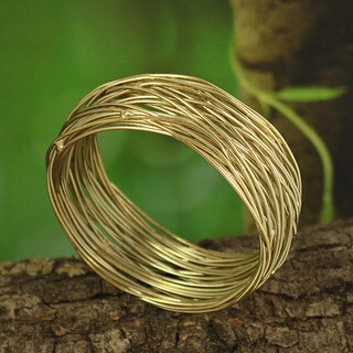 Handcrafted Goldtone Metal Bird's Nest Bangle Bracelet (India)