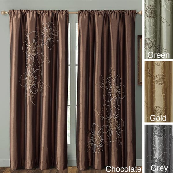 Carrie 84-inch Embroidered Faux Silk Window Panel