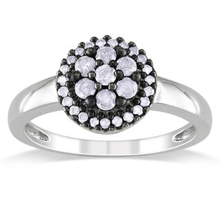 Haylee Jewels Sterling Silver 3/8ct TDW Diamond Flower Ring (I-J, I3)