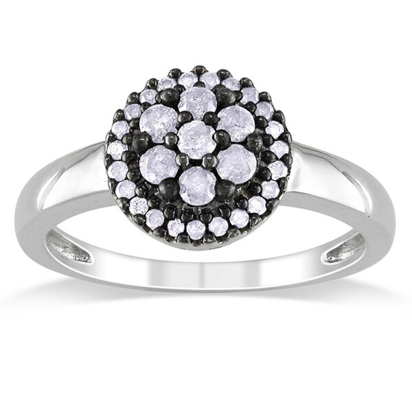 Miadora Sterling Silver 3/8ct TDW Diamond Flower Ring (I-J, I3)