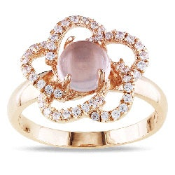Miadora Pink Plated Silver 2ct TGW Rose Quartz and Cubic Zirconia Ring