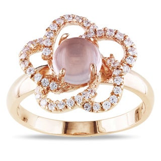 M by Miadora Pink Plated Silver 2ct TGW Rose Quartz and Cubic Zirconia Ring