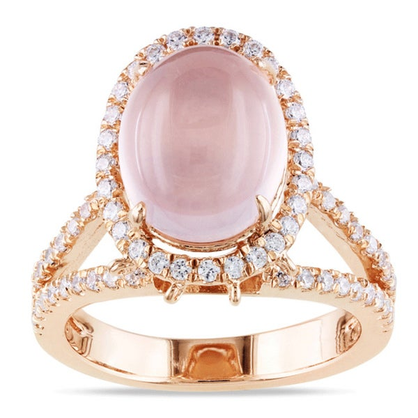 Miadora Pink Plated Silver 4 3/4ct TGW Rose Quartz and Cubic Zirconia Ring
