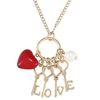 LinaJoy Goldtone 'Love' Key and Heart Charm Necklace