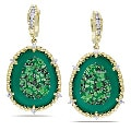 Miadora 14k Gold Tsavorite, Green Agate and 1/2ct TDW Diamond Earrings (G-H, SI1-SI2)