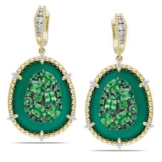 Miadora Signature Collection 14k Gold Tsavorite/ Green Agate/ 1/2ct TDW Diamond Earrings (G-H, SI1-SI2)