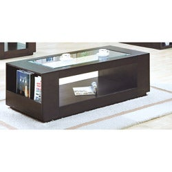 Cappuccino Veneer Cocktail Table with Glass Insert