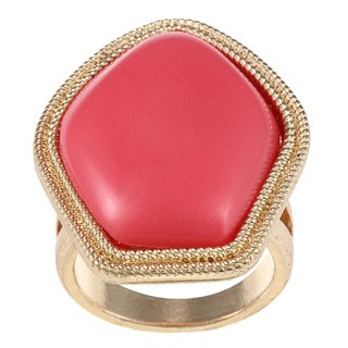 LinaJoy Goldtone Created Red Coral Fashion Ring