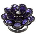 LinaJoy Black-plated Clear and Purple Cubic Zirconia Flower Ring