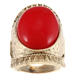LinaJoy Fashion Jewelry Created Oval Red Coral Hammered Ring