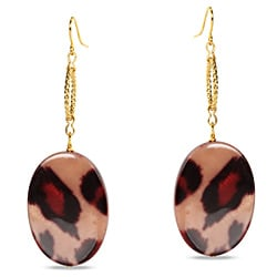 Miadora Goldtone Leopard Print Charm Earrings