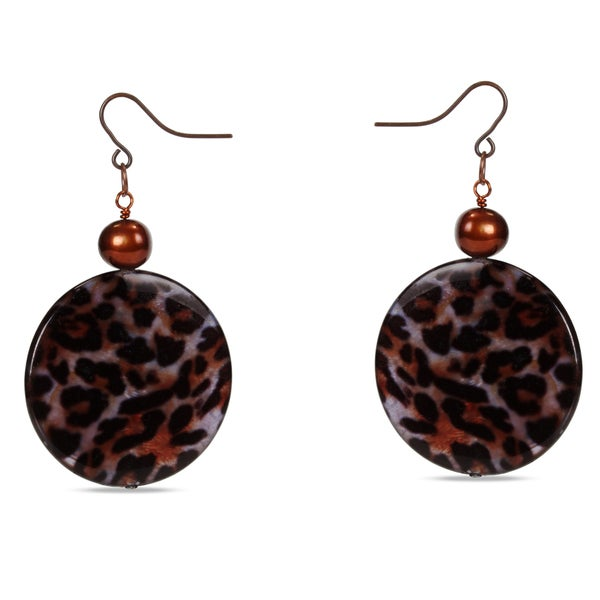 M by Miadora Goldtone Brown FW Pearl and Leopard Print Bead Earrings