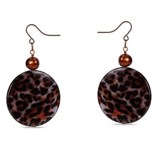 Miadora Goldtone Brown FW Pearl and Leopard Print Bead Earrings