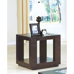 Cappuccino Veneer End Table with Glass Insert