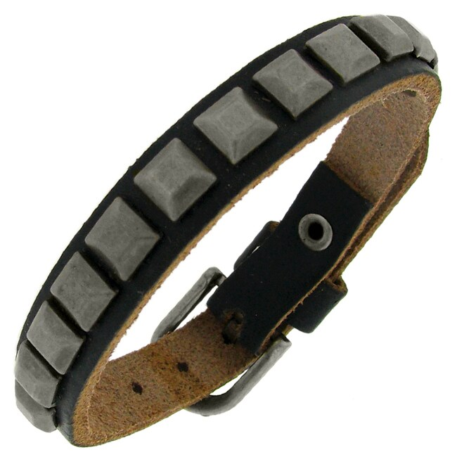 Black Leather and Gunmetal Plate Bracelet