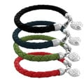 Moise Colored Leather Braid Ornate Heart Charm Bracelet