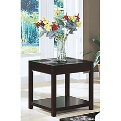 Cappuccino Veneer End Table with Shelf