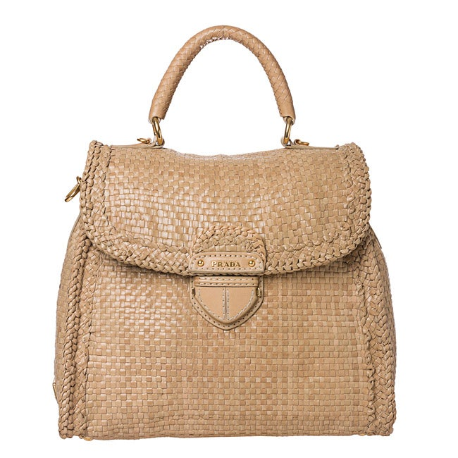 Prada Beige Woven Leather Madras Bowler Bag
