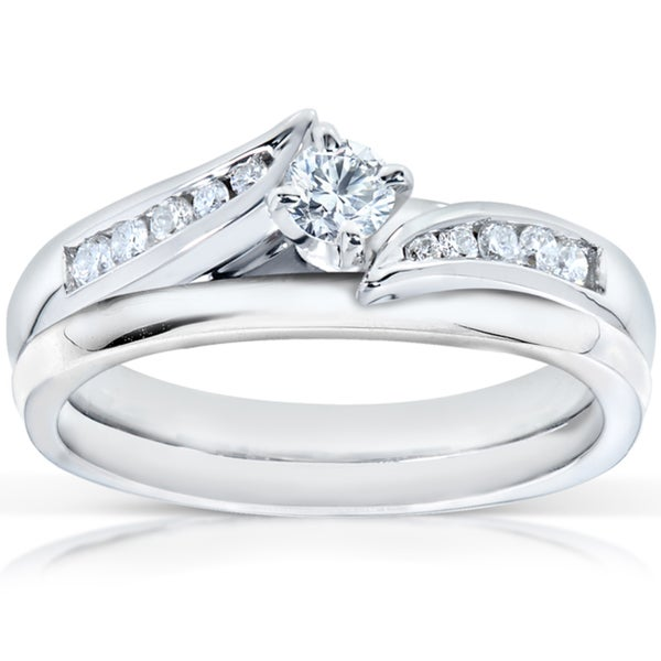 Annello 14k White Gold 1/4ct TDW Diamond Bridal Ring Set (G-H, I1-I2)