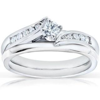 Annello 14k White Gold 1/4ct TDW Diamond Bridal Ring Set (G-H, I1-I2)
