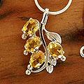Sterling Silver 'Golden Bouquet' Citrine Necklace (India)