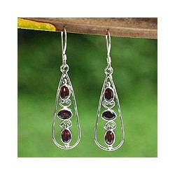 Garnet Earrings 'Scarlet Dewdrops' (Indonesia)
