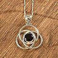 Sterling Silver 'Floral Orbit' Onyx Necklace (Peru)