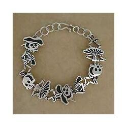 Sterling Silver 'Skeletal Matador Dance' Link Bracelet (Mexico)