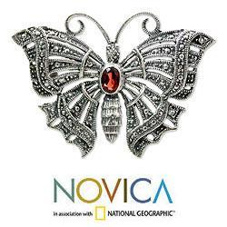 Sterling Silver 'Crimson Butterfly' Garnet Brooch Pendant (Indonesia)