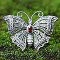 Sterling Silver 'Crimson Butterfly' Garnet Brooch Pendant (Indonesia)