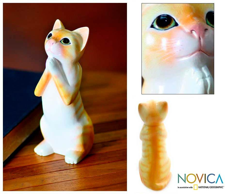 Handcrafted Albesia Wood 'Ginger Tabby Cat Wish' Sculpture (Indonesia)