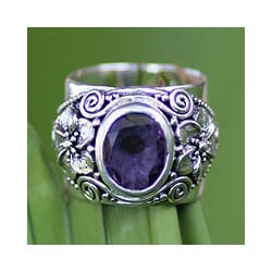 Sterling Silver 'Lilac Frangipani' Amethyst Ring (Indonesia)
