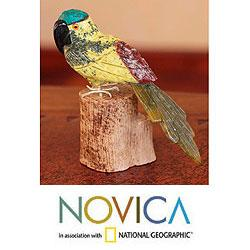 Handcrafted Multi-gemstone 'Blue Crested Bird' Sculpture (Peru)