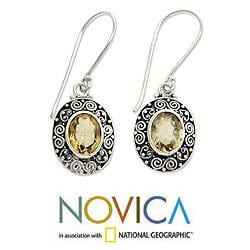 Sterling Silver 'Lush Suns' Citrine Earrings (Indonesia)