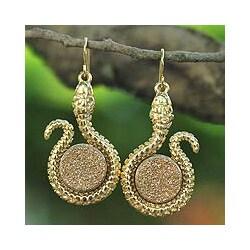 Gold Overlay 'Amazon Serpent' Drusy Agate Earrings (Brazil)