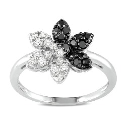 Miadora 14k Gold 1/2ct TDW Black and White Diamond Flower Ring (G-H, I1-I2)