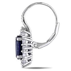 Miadora Silver Created Blue and White Sapphire and Diamond Accent Earrings